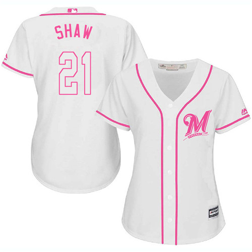 Women's Majestic Milwaukee Brewers #21 Travis Shaw Replica White Fashion Cool Base MLB Jersey