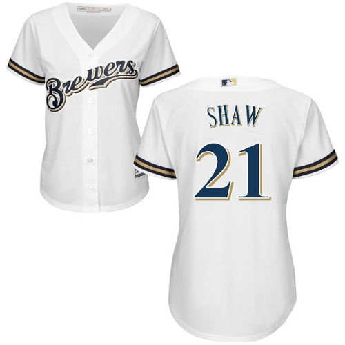 Women's Majestic Milwaukee Brewers #21 Travis Shaw Replica White Home Cool Base MLB Jersey