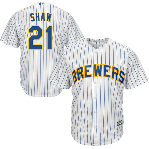 Youth Majestic Milwaukee Brewers #21 Travis Shaw Replica White Alternate Cool Base MLB Jersey