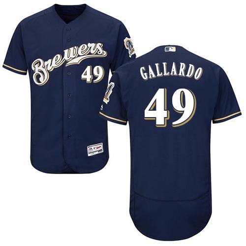 Men's Majestic Milwaukee Brewers #49 Yovani Gallardo Navy Blue Alternate Flex Base Authentic Collection MLB Jersey