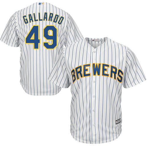 Men's Majestic Milwaukee Brewers #49 Yovani Gallardo Replica White Alternate Cool Base MLB Jersey