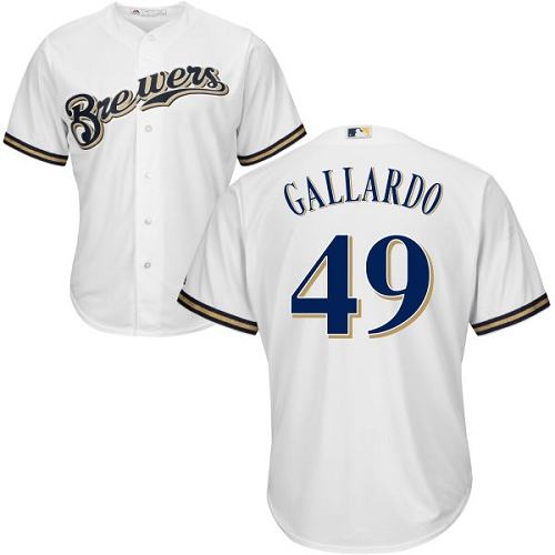 Men's Majestic Milwaukee Brewers #49 Yovani Gallardo Replica White Home Cool Base MLB Jersey