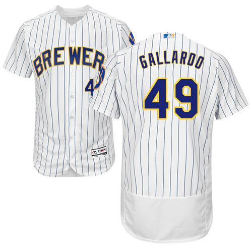 Men's Majestic Milwaukee Brewers #49 Yovani Gallardo White Alternate Flex Base Authentic Collection MLB Jersey