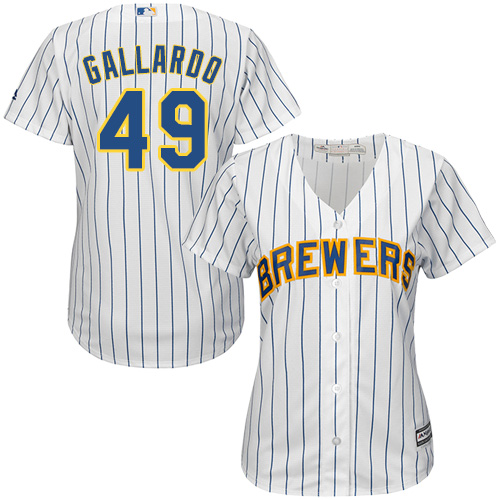 Women's Majestic Milwaukee Brewers #49 Yovani Gallardo Authentic White Alternate Cool Base MLB Jersey
