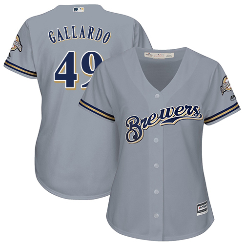 Women's Majestic Milwaukee Brewers #49 Yovani Gallardo Replica Grey Road Cool Base MLB Jersey