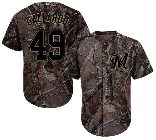 Youth Majestic Milwaukee Brewers #49 Yovani Gallardo Authentic Camo Realtree Collection Flex Base MLB Jersey