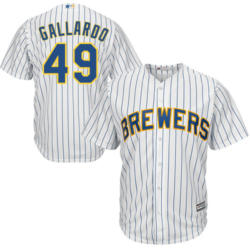 Youth Majestic Milwaukee Brewers #49 Yovani Gallardo Replica White Alternate Cool Base MLB Jersey