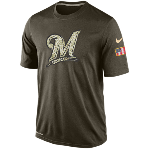 MLB Men's Milwaukee Brewers Nike Dri-Fit Olive Salute To Service KO Performance T-Shirt