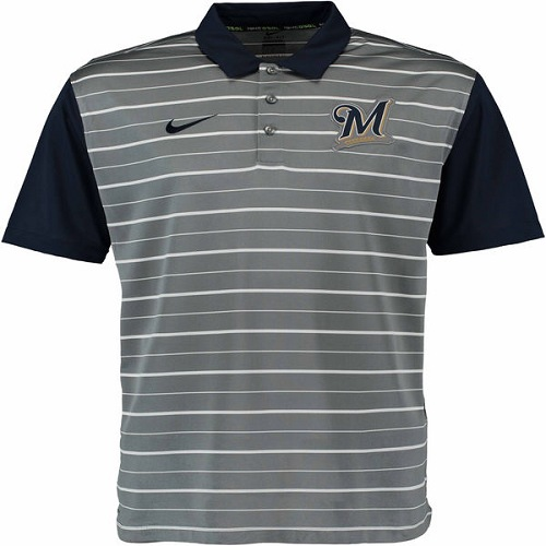 MLB Men's Milwaukee Brewers Nike Gray Dri-FIT Stripe Polo