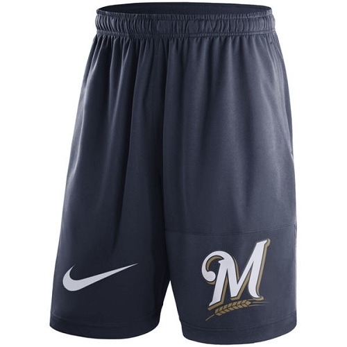 MLB Men's Milwaukee Brewers Nike Navy Dry Fly Shorts