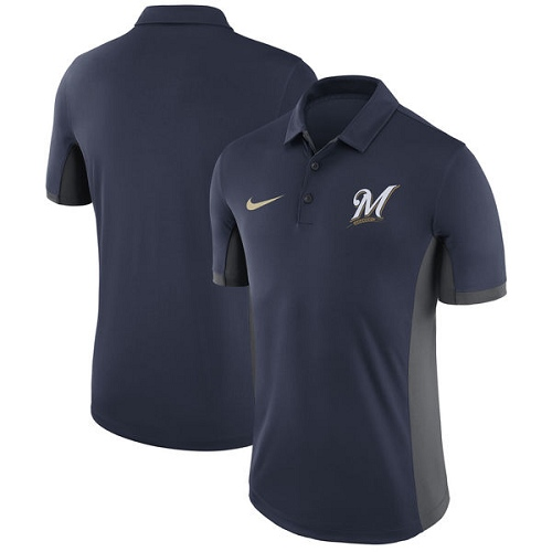 MLB Men's Milwaukee Brewers Nike Navy Franchise Polo T-Shirt