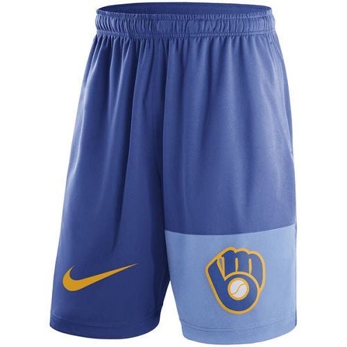 MLB Men's Milwaukee Brewers Nike Royal Cooperstown Collection Dry Fly Shorts