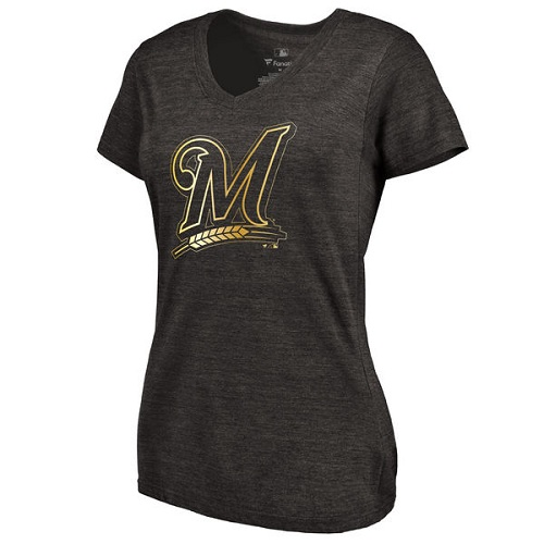 MLB Milwaukee Brewers Fanatics Apparel Women's Gold Collection V-Neck Tri-Blend T-Shirt - Black