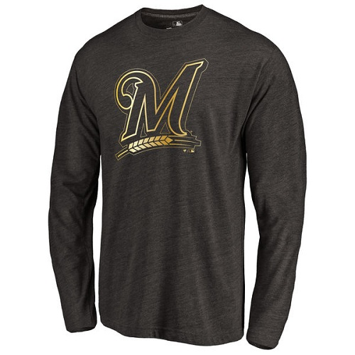 MLB Milwaukee Brewers Gold Collection Long Sleeve Tri-Blend T-Shirt - Black