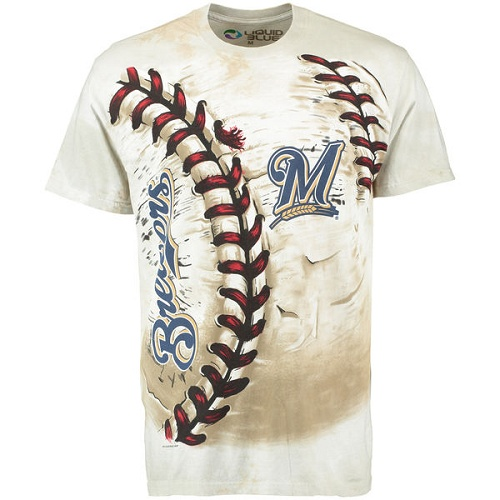 MLB Milwaukee Brewers Hardball Tie-Dye T-Shirt - Cream