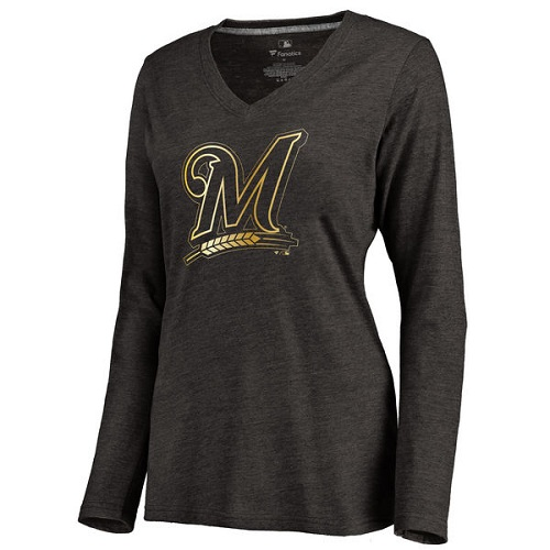 MLB Milwaukee Brewers Women's Gold Collection Long Sleeve V-Neck Tri-Blend T-Shirt - Black