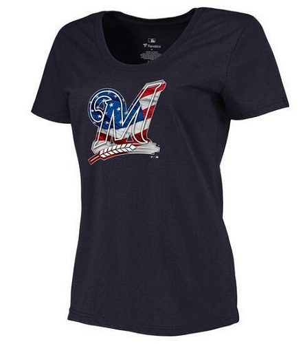 MLB Women's Milwaukee Brewers Navy Banner Wave Slim Fit T-Shirt