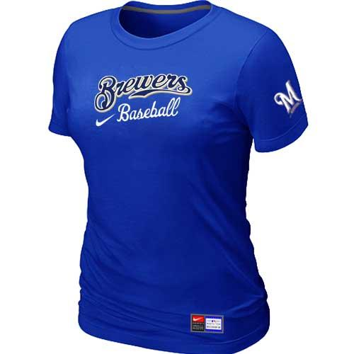 MLB Women's Milwaukee Brewers Nike Practice T-Shirt - Blue