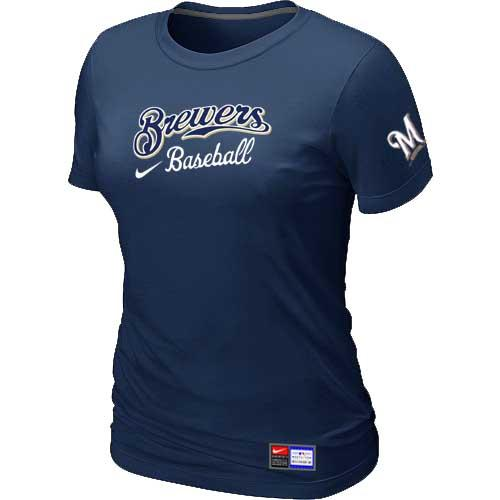 MLB Women's Milwaukee Brewers Nike Practice T-Shirt - Navy