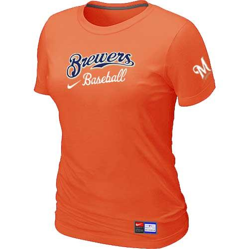 MLB Women's Milwaukee Brewers Nike Practice T-Shirt - Orange