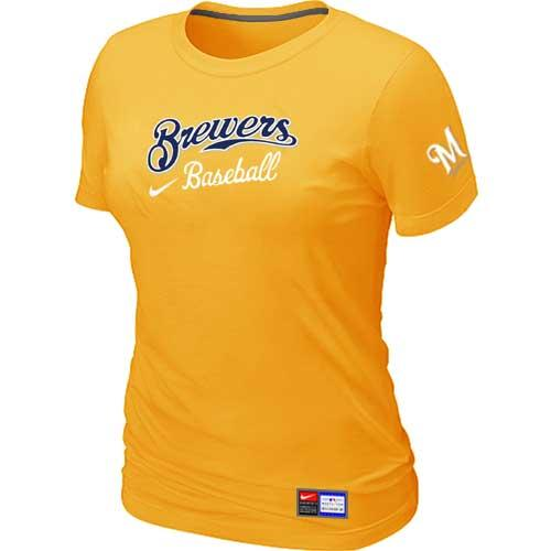 MLB Women's Milwaukee Brewers Nike Practice T-Shirt - Yellow